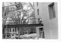 Construction of bridge between Neilson Library and Alumnae Gymnasium, October 1982.
