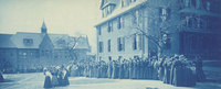 Waiting in line for a basketball game at Alumnae Gymnasium, Smith College, 1898.